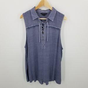 Rock & Republic Lace Up Fringe Tank Shirt Top XL